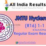 JNTUH 1-1 Sem (R16) Regular Exam Results 2016-2017 – B.Tech & B.Pharmacy