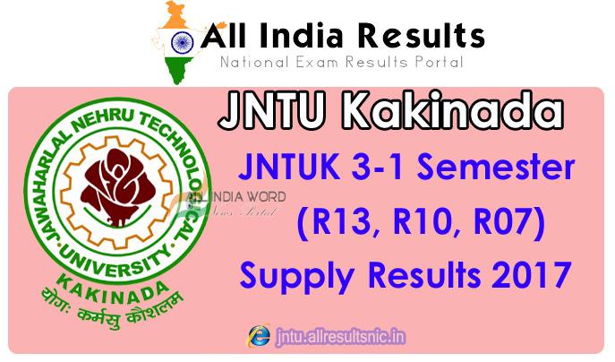 JNTU Kakinada 3rd Year 1st Sem Results 2017