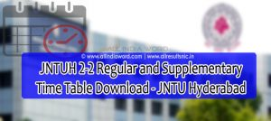JNTUH 2-2 Regular Supply Time Table 2020 Download - JNTU Hyderabad
