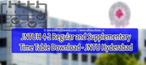 JNTUH 4-2 Regular Supply Time Table 2020 Download - JNTU Hyderabad