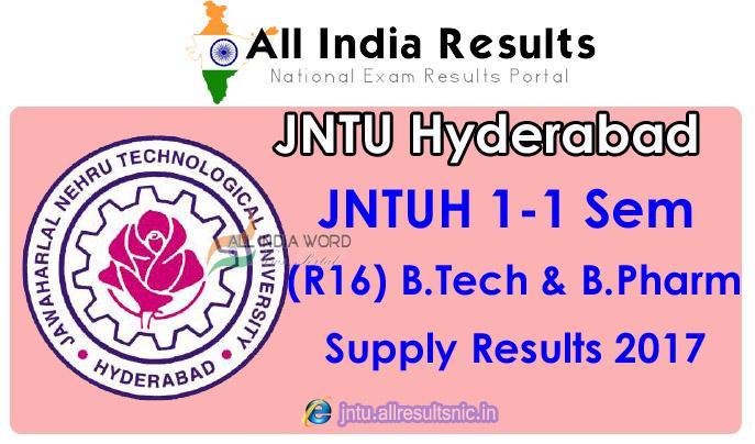 JNTUH 1-1 Sem Supplementary Results 2017 R16