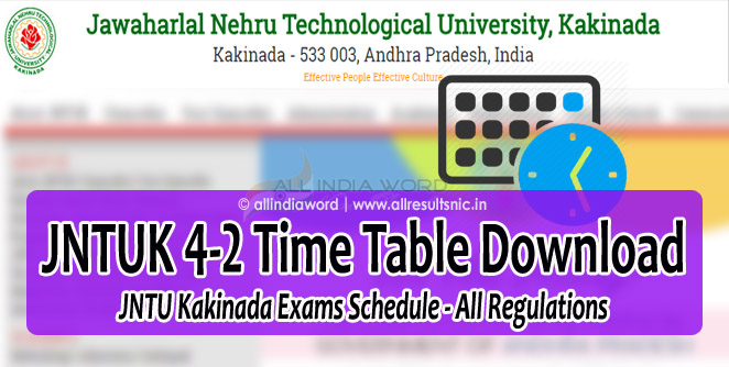 JNTUK 4-2 Regular Supply Exam Time Tables 2018 Download - JNTU Kakinada