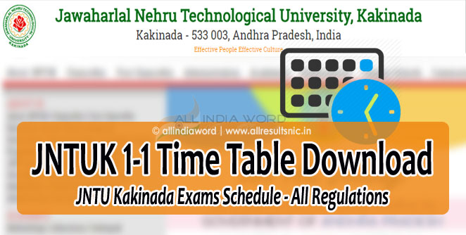 JNTUK 1-1 Time Table 2017 Download (Regular & Supply) - JNTU Kakinada