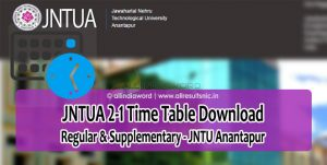 JNTUA 2-1 (R15, R13, R09) Time Table 2018 – JNTU Anantapur 2nd Year 1st Semester