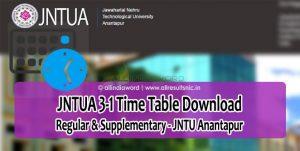 JNTUA 3-1 (R15, R13, R09) Supply Time Table 2018 – JNTU Anantapur 3rd Year 1st Sem Exam