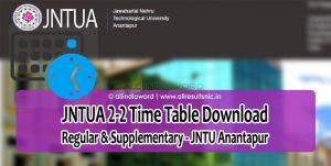 JNTUA 2-2 Time Table 2018 Download | JNTU Anantapur 2nd Year 1st Sem Exams